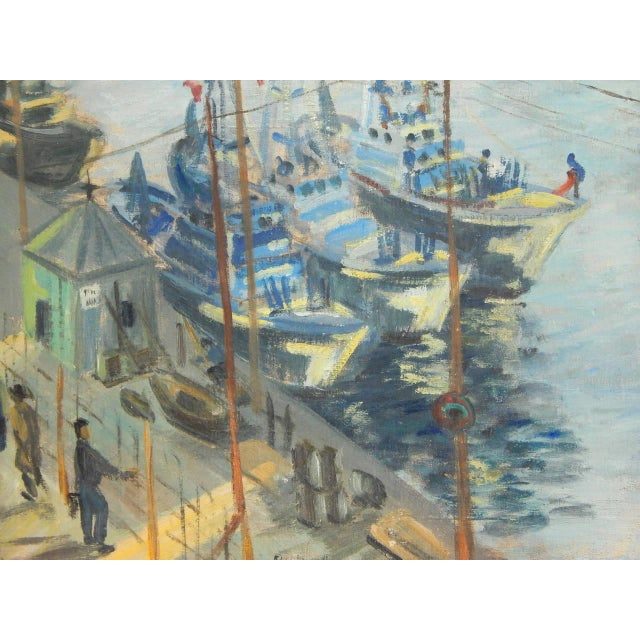 Wonderful Mid-Century oil on canvas of a French Harbor, signed Roudens Maroselli, 1949. Has been professionally cleaned...