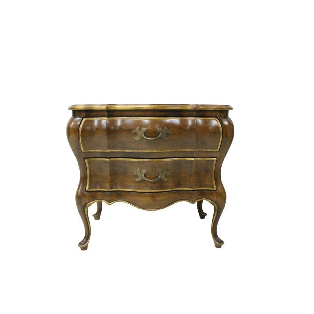 A Pair of French Provincial Bombay Nightstands. Solid walnut with Gold Highlights.