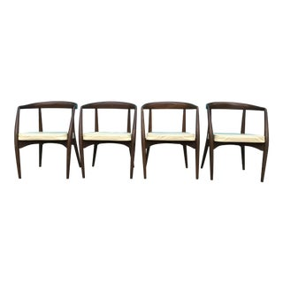 Lawrence Peabody Walnut Dining Chairs - Set of 4