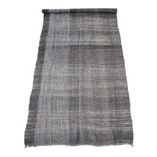 Vintage Turkish Flat-Weave Derian Rug Brown With Creamy Plaid Pattern For Sale