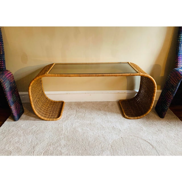 Mid-Century Modern Vintage Rattan Scroll Console Table For Sale - Image 3 of 10