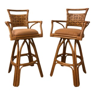 1990s Vintage Bamboo Bar Height Stools - a Pair For Sale
