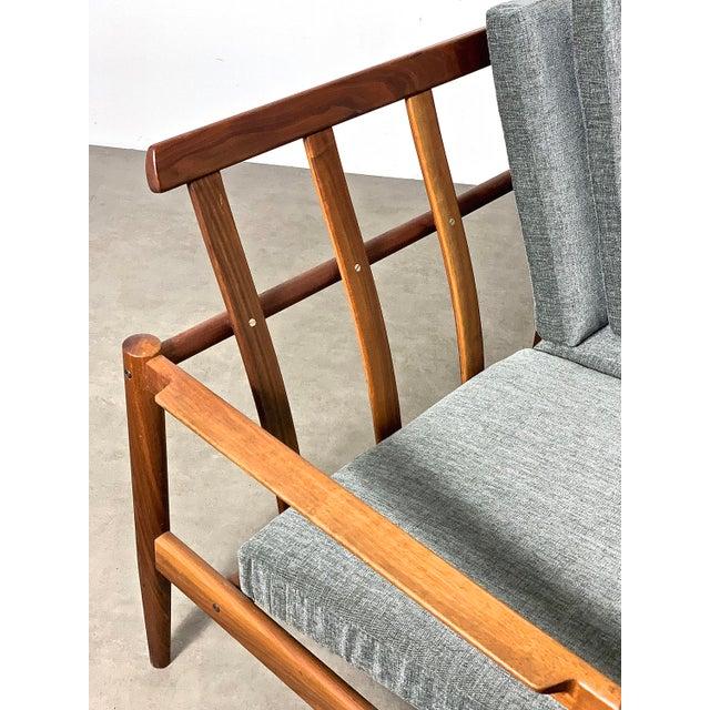 1950s Vintage Borge Jensen Teak Frame Gray Three Seat Sofa For Sale - Image 10 of 11