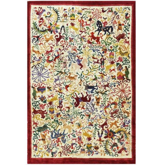 "Textile Vintage Ecuadorian Animal Carpet - 3′10″ × 5′7"" For Sale - Image 7 of 7"
