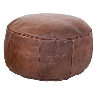 Antique Whiskey Leather Moroccan Pouf Ottoman