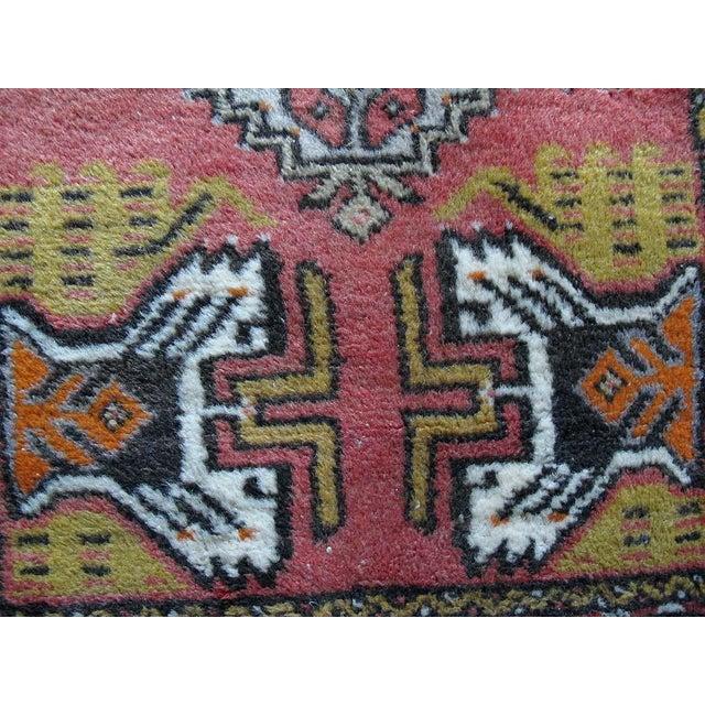 "Vintage Dark Pink Distressed Turkish Rug - 1'8"" x 3'2"" - Image 7 of 9"