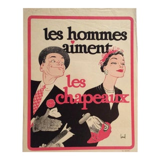 Original Vintage French Fashion Advertising Poster by Theo Brugiere For Sale