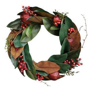 Restoration Hardware Magnolia and Pomegranate Wreath For Sale