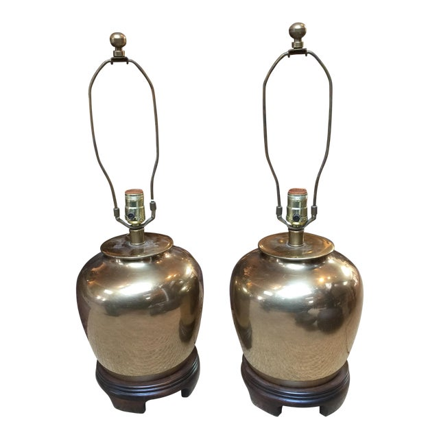 Frederick Cooper Brass Lamps - A Pair For Sale