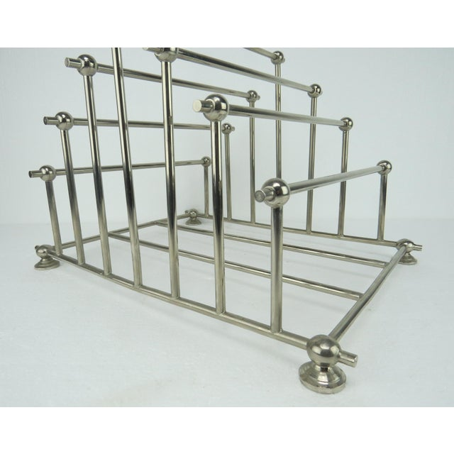 1970s Art Deco Inspired Architectural Chrome Magazine Holder/Rack For Sale - Image 4 of 10