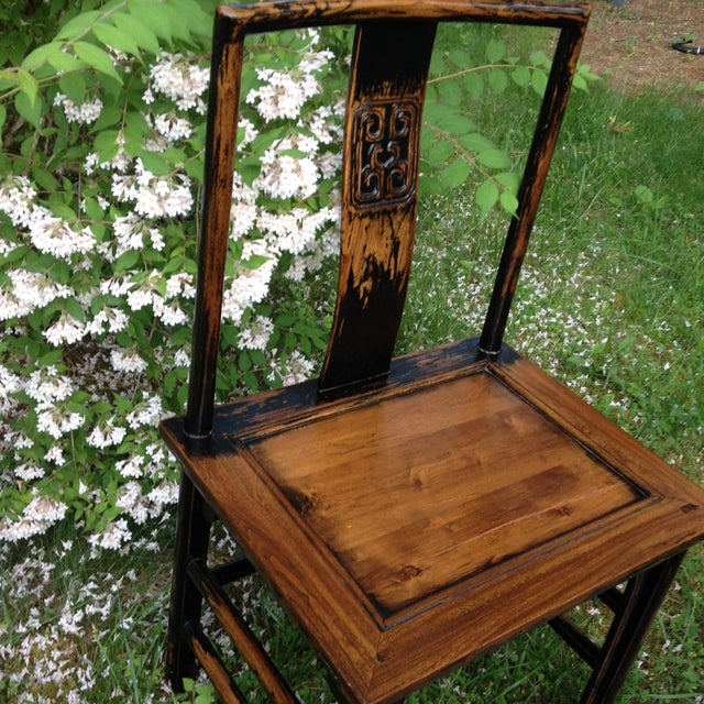 Asian 1830s Antique Qing Dynasty Teak Camphor Wood Side Chair For Sale - Image 3 of 13