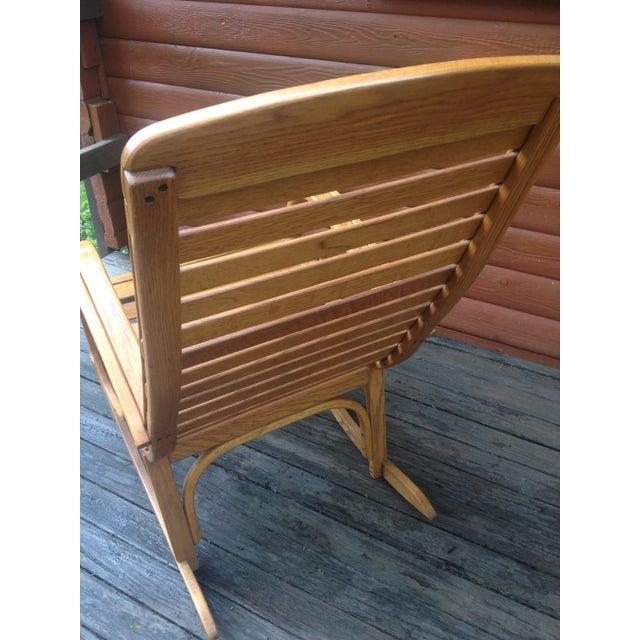 1990s 1990s Vintage R. Benna Bent Oak Slat Back Rocking Chair For Sale - Image 5 of 13