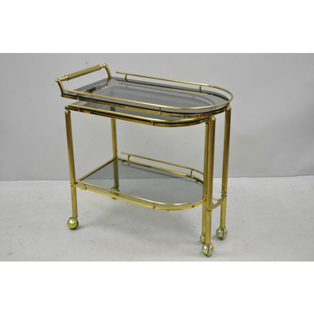 20th Century Hollywood Regency Swivel Rolling Bar Cart For Sale - Image 12 of 13
