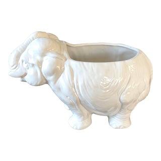 White Italian Pottery Elephant Planter For Sale