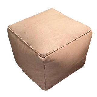 Square Pouf by Mpw Plaza, Natural (Cover) Moroccan Leather Pouf Ottoman For Sale