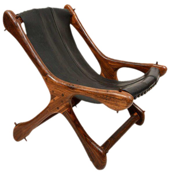 Don Shoemaker Mid Century Modern Don Shoemaker Sling Chair, Cocobolo & Leather For Sale - Image 4 of 6