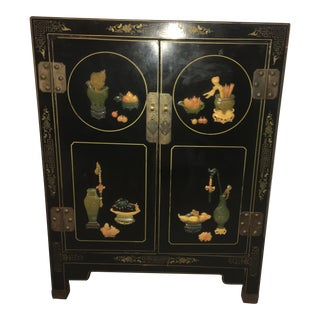 Chinoiserie Vintage Etched Dragon Design Cabinet