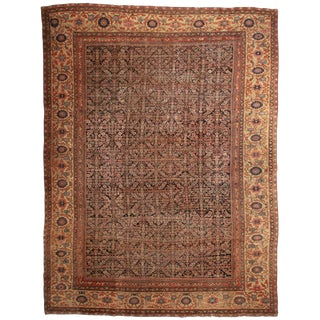 Vintage Mid-Century Hand-Knotted Wool Persian Mahal Rug - 12′7″ × 17′ For Sale