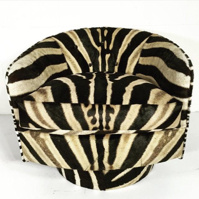 Milo Baughman Swivel Tilt Zebra Club Chairs - Pair - Image 5 of 7