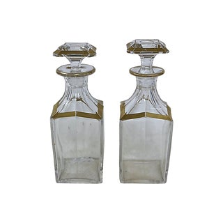 Antique French Cut Glass Decanters, C. 1760 - a Pair For Sale
