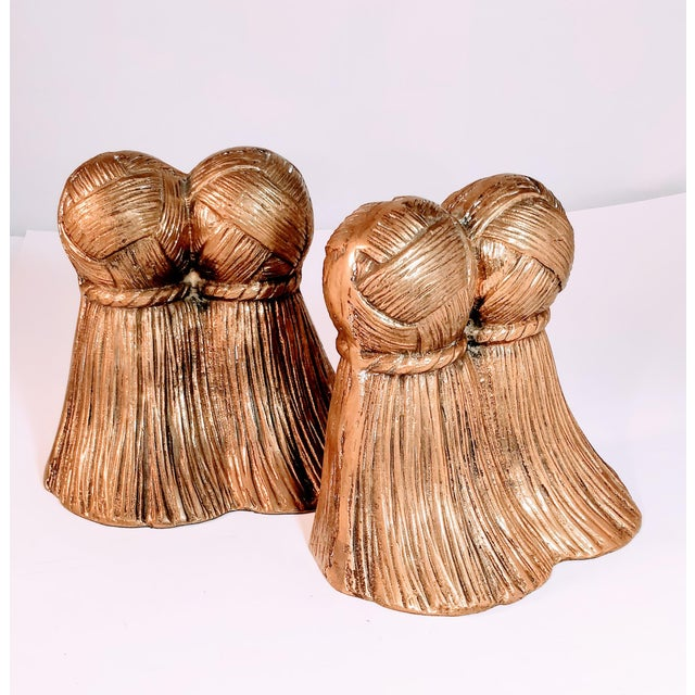 Mid 20th Century Vintage Brass Tassel Bookends a Pair For Sale - Image 5 of 9