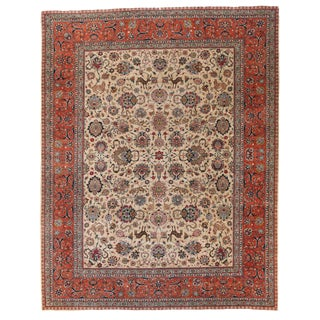 1960s Vintage Persian Tabriz Flora and Fauna Pattern Rug - 10′4″ × 13′1″ For Sale