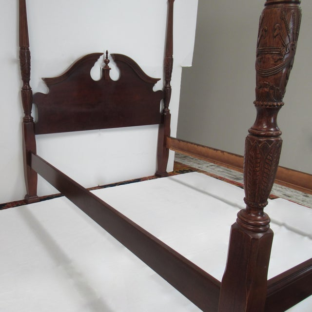 1980s Vintage Colonial Style Rice Carved 4 Poster Bed Attr To Henkel Harris Queen Size Chairish