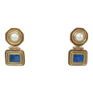 Roman Style Brass, Lapis Lazuli & Faux Pearl Earrings For Sale