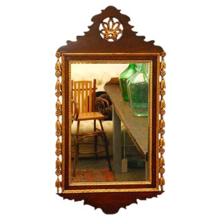 Carved and Gilded Wall Mirror For Sale