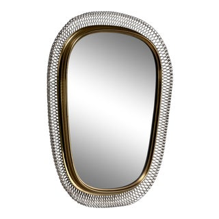 Brass Mirror With White Mesh Metal, Austria, 1950s For Sale