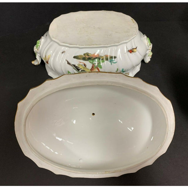 Antique 1750 Meissen Porcelain Tureen with Birds, Insects, Flowers and Boy Finial For Sale - Image 10 of 13