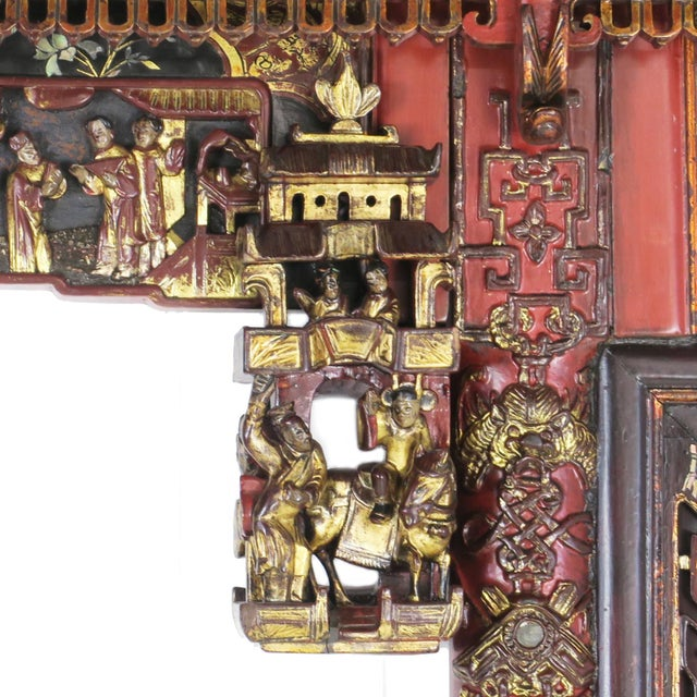 Red Chinese Opium Wedding Bed Intricately Carved Panel For Sale - Image 8 of 13