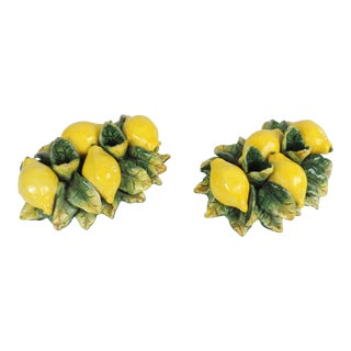 1970s Mid-Century Ceramic Majolica Lemon Candle Holders - a Pair For Sale
