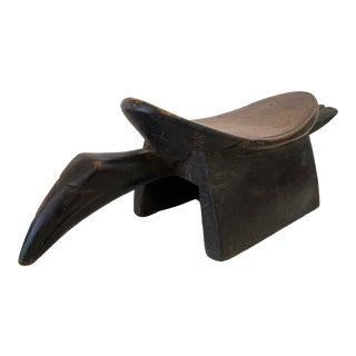 Tribal Baule Carved Stool Headrest of a Birdith For Sale