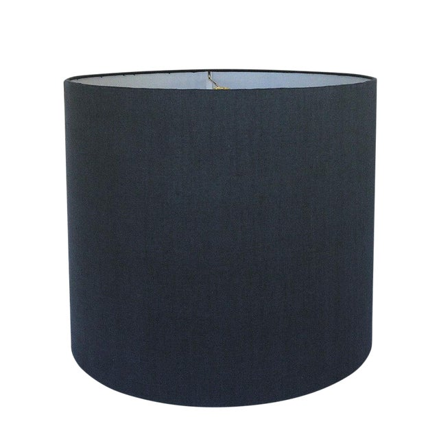 New, Made to Order, Navy Linen, Large Drum Shade For Sale