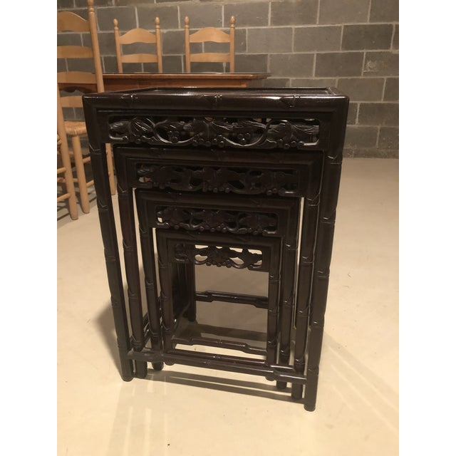 Asian Wooden Nesting Tables - Set of 4 For Sale - Image 11 of 13