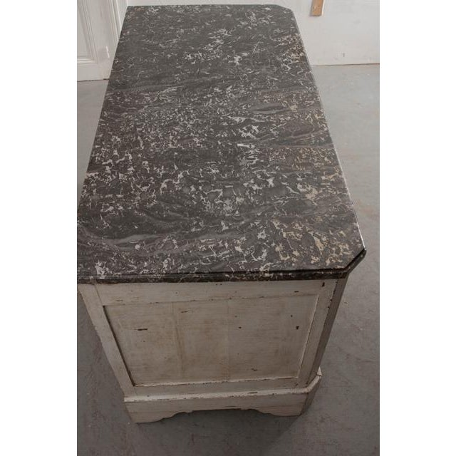 French 19th Century Painted Commode With Marble Top For Sale In Baton Rouge - Image 6 of 12