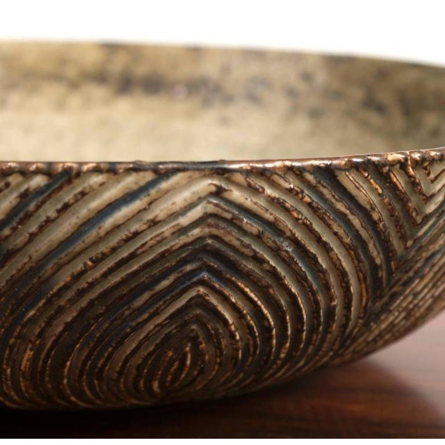 Large Bowl with Sung Glaze by Axel Salto for Royal Copenhagen For Sale - Image 4 of 10