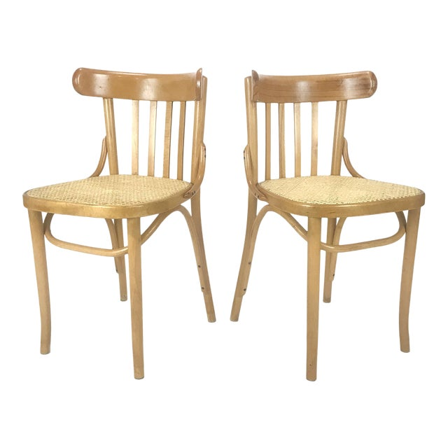 Vintage Romanian Maple Bentwood & Cane Side Chairs - A Pair For Sale