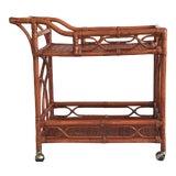 Image of Vintage Rattan Bar Cart For Sale