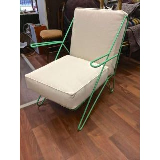 Raoul Guys Rarest Pair of Aqua Metal Chairs Newly Recovered in Canvas Cloth For Sale - Image 4 of 6