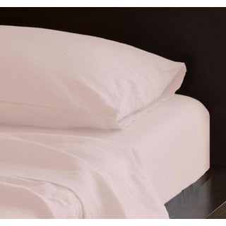 Pink Linen Sheet Set in King - 4 Pieces For Sale