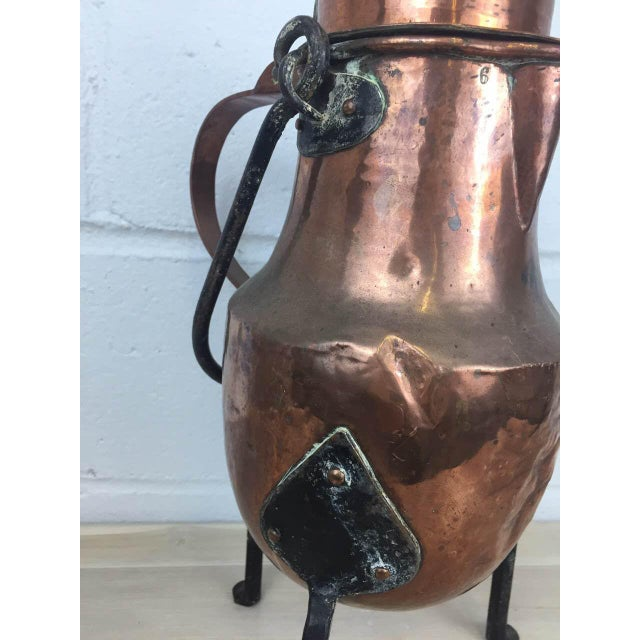 19th Century Copper Handmade Lidded Coffee Tea Pot - Image 6 of 10