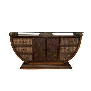 Rustic Bamboo Abaca & Coconut Shell Credenza For Sale
