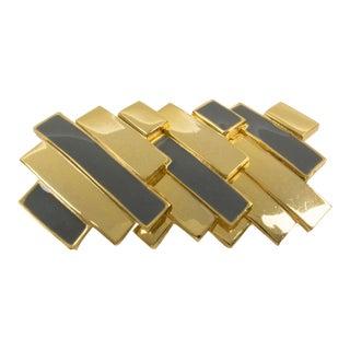 Lanvin Paris Modernist Pin Brooch Gilt Metal and Gray Enamel For Sale