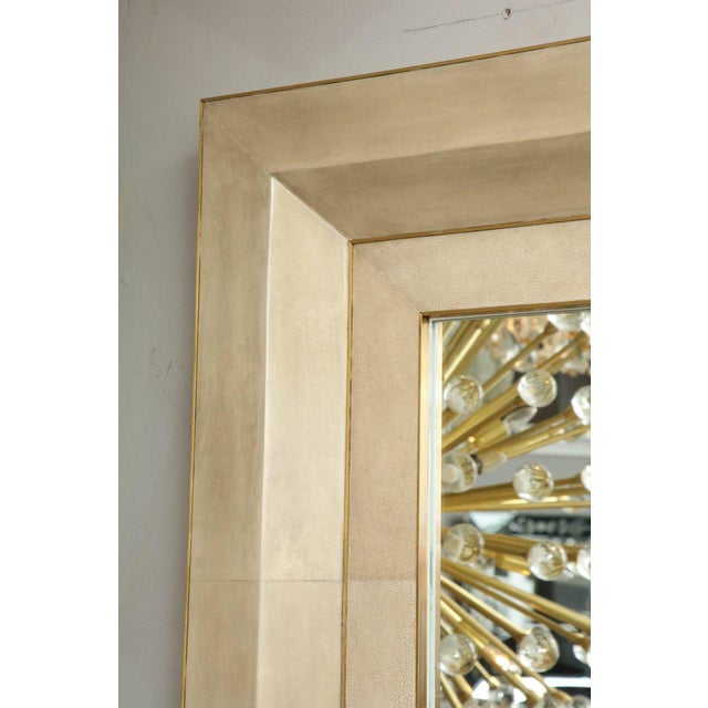 Chic Goatskin and Shagreen Mirror with Brass Trim For Sale - Image 4 of 6