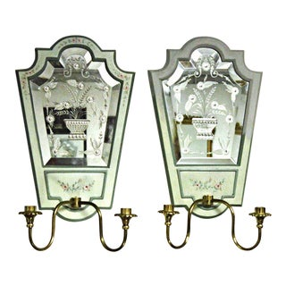 Mastercraft Handmade Etched Mirrored Sconces - A Pair For Sale