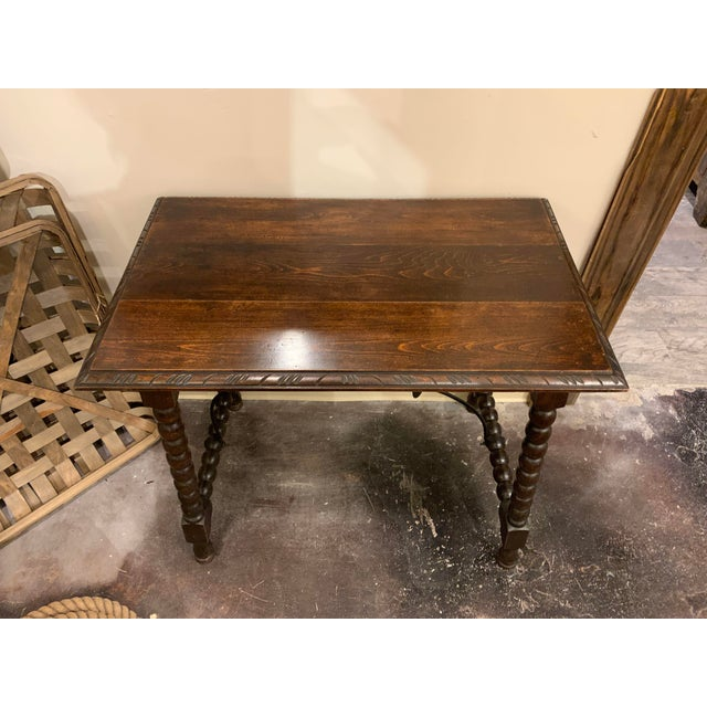 Late 19th Century Spanish Baroque Style Carved Oak Side Table For Sale - Image 5 of 13