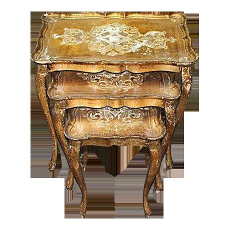 Superb Mid Century Modern Italian Florentine Nesting Tables   Set Of 3 | Chairish