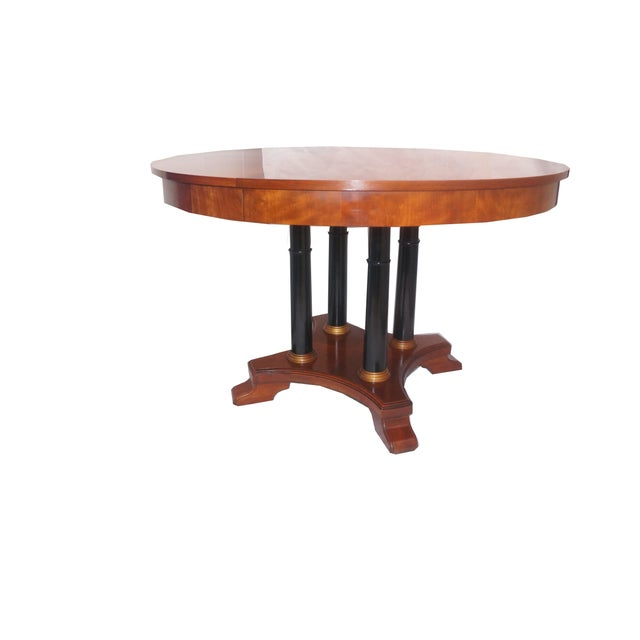Ethan Allen Medallion Round Dining Table With Leaves Chairish - Round dining table with 2 leaves